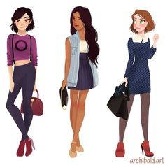 Modern Mulan, Pocahontas & Rapunzel by Archibald Art. Disney Princess Fashion, Disney Princess Art, Disney Style, Disney Fan Art, Cute Disney, Disney Girls, Disney And Dreamworks, Disney Pixar, Walt Disney