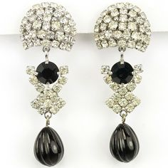 Christian Dior by Henkel and Grosse Pave Domes and Carved Onyx Pendant Clip Earrings