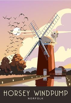 Horsey Windpump sits on Horsey Mere on the East side of the Norfolk Broads. This is one print from a series of over 120 images by White One Sugar, a group of Kent based artists. It has been printed onto good quality paper using light fast inks so your picture will look good for years to