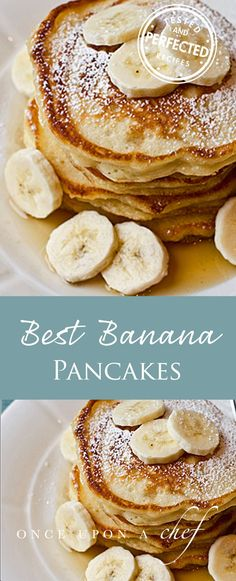 Banana Pancakes - delicious for a quick breakfast before work or even better on the weekend for brunch when you've got some time. Pancakes And Waffles, Pancakes With Banana, Healthy Banana Pancakes, Breakfast Pancakes, Banana Almond Flour Pancakes, 3 Ingredient Pancakes Banana, French Toast Pancakes Recipe, Ripe Banana Recipes Healthy, Healthy Recipes
