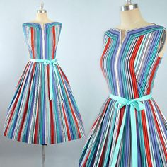 Vintage 50s Dress / 1950s RAINBOW STRIPES Cotton SUNDRESS Red