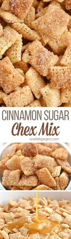 Cinnamon Sugar Chex Mix: Easy, Delicious and Insanely Addictive! - Appetizers - This cinnamon sugar chex mix is SO GOOD. It& super easy to make, and the sweet buttery crunch - Snack Mix Recipes, Yummy Snacks, Cooking Recipes, Yummy Food, Snack Mixes, Cooking Ideas, Party Recipes, Healthy Snacks, Köstliche Desserts