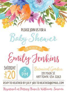 Acuarela de bebé ducha invitación invitación por inglishdigidesign