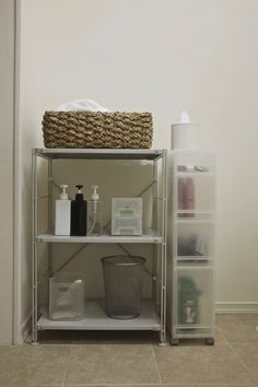Muji's SUS shelving and PP storage solutions were the perfect fit for our bathroom.
