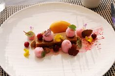 Pumpkin Tart, Cranberry Foam, Sweet Potato Sorbet, Poached Cranberry, Gingerbread Streusel by Pastry Chef Antonio Bachour…He does the best flavor combos. Love his stuff.