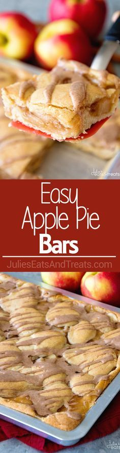 Easy Apple Pie Bars ~ Quick and Easy Bars Stuffed with Apple Pie Filling in between a Soft and Delicious Cinnamon Crust then Drizzled with Cinnamon Icing! Perfect Fall Treat! via @julieseats