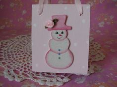 Wood Tote Hand Painted Pink Snowlady Pen Holder  by pinkrose1611, $14.00