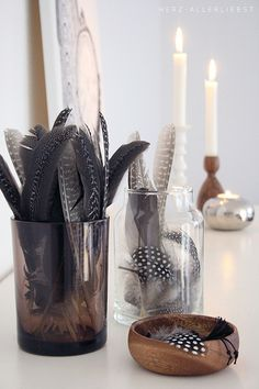 decorating with guinea fowl feathers