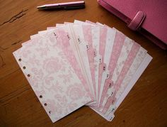 PERSONAL Size A-Z DIVIDERS - 'Pink floral' #543 - Fits FILOFAX