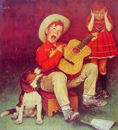 Norman Rockwell The Music Man art painting for sale; Shop your favorite Norman Rockwell The Music Man painting on canvas or frame at discount price. Norman Rockwell Prints, Norman Rockwell Paintings, Illustrations Vintage, Illustration Art, Peintures Norman Rockwell, Photo Humour, The Saturdays, Munier, The Music Man