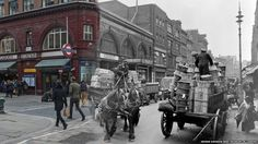 Covent Garden - The old photographs used in the updates were taken by renowned late 19th and 20th Century photographers, including Henry Grant, Wolfgang Suschitsky, Roger Mayne and George Davison Reid, who made the image on the right at the corner of Long Acre and James Street, Covent Garden, in 1930.