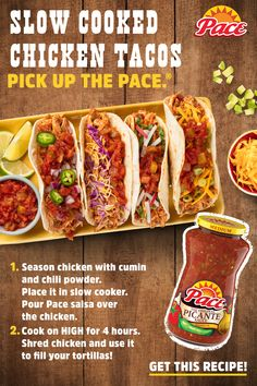 Mid-week slow cooker recipes don't get any tastier, or easier than with Pace®. Tap the Pin for the full recipe. collection ad inspiration about dinner recipes Chicken Taco Recipes, Mexican Food Recipes, New Recipes, Dinner Recipes, Favorite Recipes, Healthy Recipes, Chicken Tacos, Recipies, Tofu Tacos