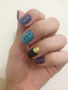 Unhas preto, dourado e azul, decorada, black, blue, decor, nail
