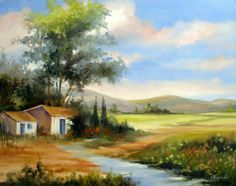 Landscape Drawings, Watercolor Landscape, Landscape Art, Landscape Paintings, Watercolor Art, Unique Paintings, Beautiful Paintings, Beautiful Landscapes, Indian Paintings