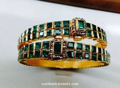 Antique Gold Emerald Bangles with uncut diamonds