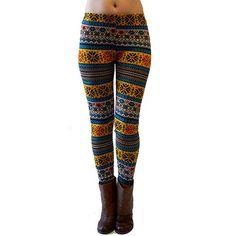 3 Pairs: Geometric Print Fleece Lined Leggings