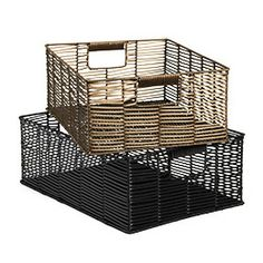 "Large Mesa Bin   16-1/4"" x 11-1/2"" x 5-7/8"" h   Made from woven plastic rattan over a metal frame"
