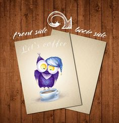 Let's Coffee Card INSTANT DOWNLOAD blank by BlueberryDreamDesign