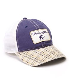 $9.99 Washington Huskies Plaid Mesh Baseball Cap - Adults