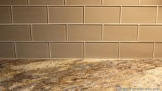 """3"""" x 6"""" glass #subway #tile in the """"Beach"""" color by Interceramic. Formica's 180fx Lapidus Brown.  