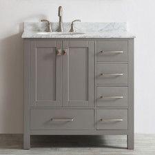 Found it at Wayfair - Gela Single Vanity Set Bathroom Plans, Bathroom Renos, Bathroom Ideas, Bathroom Gray, Bathroom Vanities, Master Bathroom, Gray Vanity, Vanity Set, Contemporary Vanity