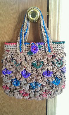 Ravelry: Carleta3021's Croco-Plarn Bag  Made from different plastic bags :)  My bestie made this :)