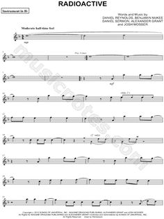 "Imagine Dragons ""Radioactive - Bb Instrument"" Sheet Music (Trumpet, Clarinet, Soprano Saxophone or Tenor Saxophone) - Download & Print"
