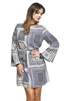 8a9604f5a74a Letní béžovo modré těhotenské šaty s geometrickými vzory