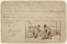 Vincent van Gogh, Postcard with Two Peasants Digging, 1885, pen and brown ink on a postcard, 9 x 13.8 cm, National Gallery of Art, Washington, D.C.