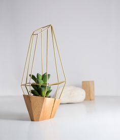 Faceted planter in wood and metal