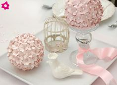 Styrofoam and paper flowers - centerpiece, just find the right paper!