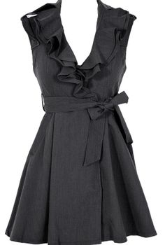 Ruffle Collar Belted Waist Dress in Charcoal//