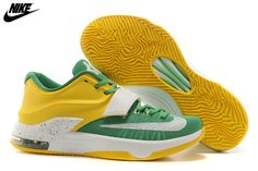 1ac2f8545ae Mens Nike Kevin Durant KD 7 Basketball Shoes Green Yellow White