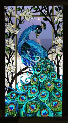 Blue Peacock in a Seaside moonlit background by knight_of_the_beach, via Flickr