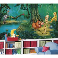 Bring the magic of Disney's The Lion King into any room in a big way with this massive wallpaper mural. Simba, Nala, Timon, Pumbaa and Rafiki stand and play in a lush jungle setting that will add the perfect touch to any Lion King-themed bedroom.