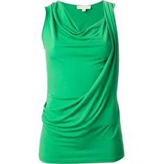 Michael Michael Kors Draped Tank Top ($71) ❤ liked on Polyvore featuring tops, shirts, sleeveless tops, tanks, cowl neck tops, drapey shirt, green tank, cowl neck shirt and drapey tank