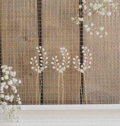 Horquillas de novia, horquillas para el cabello de Dama de honor, conjunto de 3 pernos de pelo, accesorios del pelo de oro, perlas de agua dulce, cristal de Swarovski, pelo boda
