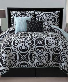 Look at this #zulilyfind! Black Kennedy Reversible Comforter Set #zulilyfinds