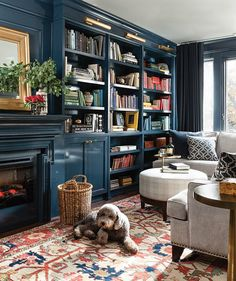 Find cozy libraries that are inviting and warm, from spaces with dark walls and rows of floor-to-ceiling books to eclectic rooms with global decor.