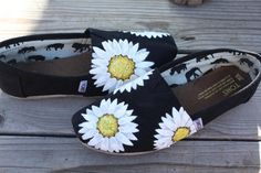 White Flowers Daisies Original Custom Acrylic Painting for Toms/Canvas Shoes TOMS NOT INCLUDED via Etsy