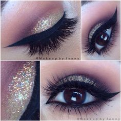 Gold glitter eye make up and winged eyeliner. Cute Makeup, Gorgeous Makeup, Pretty Makeup, Hair Makeup, Maquillage Yeux Cut Crease, Make Up Ojos, Tips Belleza, Makeup Goals, Makeup Looks