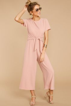Pick Your Side Blush Pink Jumpsuit Blush Pink Outfit, Blush Pink Dresses, Pink Jumpsuit, Jumpsuit With Sleeves, Short Jumpsuit, Beautiful Summer Dresses, Pretty Dresses, Blazer Fashion, Fashion Outfits
