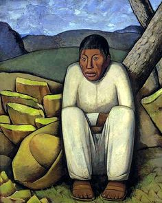 Ramos Martinez, Alfredo (1871-1946) - 1933 The Lonesome Indian (Christie's New York, 2007), for more, please visit: http://www.painting-in-oil.com/artworks-Rivera-Diego.html