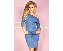 Pohodlné modré šaty s riflovým dizajnom
