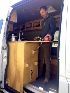Kitchen In Door Cool Sprinter Campers Camper Van Kitchen Van Sprinter Camper, Sprinter Van Conversion, Camper Conversion, Van Conversion Cabinets, Vw Lt 28, Astuces Camping-car, Camper Van Kitchen, Combi Ww, Kombi Home