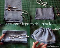 I used to make my own doll clothes. I enjoyed this Pin-Creating my way to Success: Upcycling for some dolls clothes - make a doll skirt from pant leg - tutorial. Guest post tutorial from Becky at Creatively Content Sewing Doll Clothes, Sewing Dolls, Ag Dolls, Girl Doll Clothes, Doll Clothes Patterns, Barbie Clothes, Girl Dolls, Doll Patterns, Diy Clothes