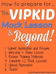 Tips and what to expect for VIPKID Mock Lesson Class. Mock class 1 and mock class 2. Vipkid mock classes. | Building Strong Bridges