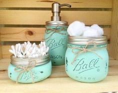 Mason Jar Bathroom Set Mason Jars Bathroom door MidnightOwlCandleCo