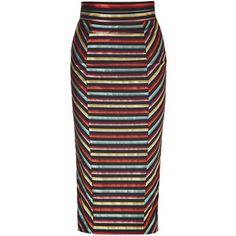 L'WREN SCOTT Black-Multi Striped High Waisted Pencil Skirt