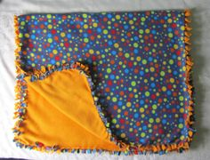 Cozy Blue with multi-coloured polka dot fleece tie blanket/baby blanket/daycare blanket/throw blanket